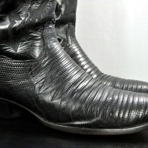 Lucchese Black Lizard & Leather Cowboy Boots
